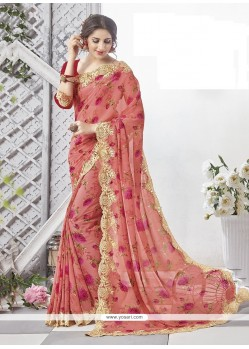 Striking Multi Colour Georgette Printed Saree