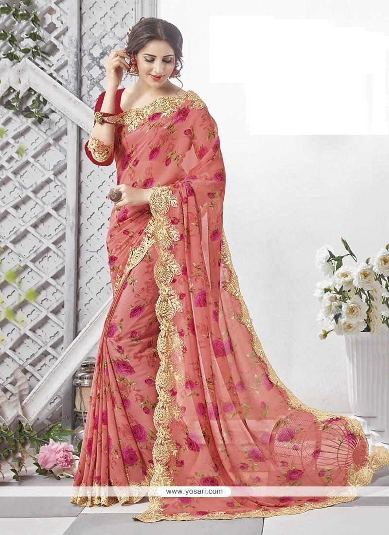 Striking Multi Colour Georgette Printed Saree