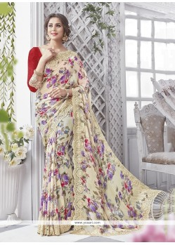 Affectionate Georgette Print Work Printed Saree