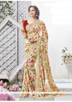 Innovative Georgette Multi Colour Printed Saree