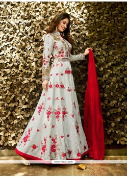 Delectable Art Silk Grey And Red Designer Lehenga Choli