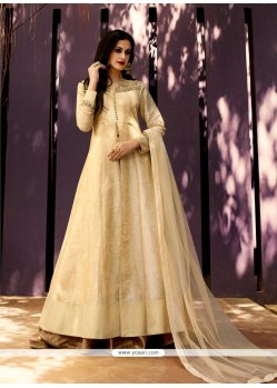 Embroidered Jacquard Silk Designer Lehenga Choli In Beige