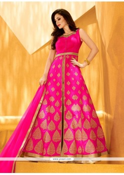 Patch Border Art Silk Designer Lehenga Choli In Hot Pink