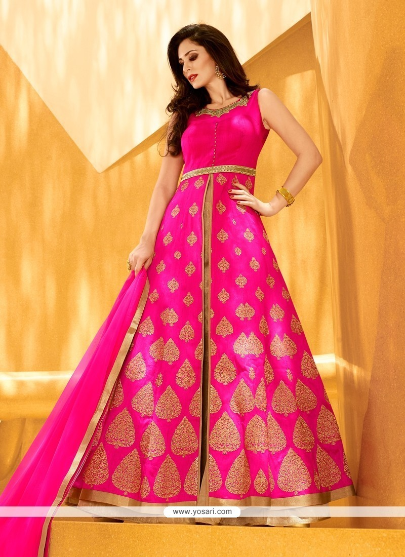 Patch Border Art Silk Designer Lehenga Choli In Hot Pink