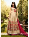 Pleasance Cream Patch Border Work Art Silk Designer Lehenga Choli