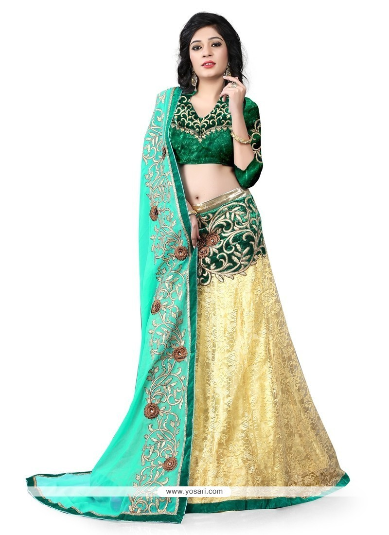 Enthralling Net Cream A Line Lehenga Choli