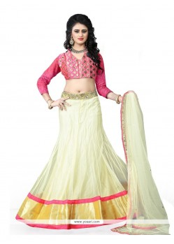Intricate Embroidered Work Off White A Line Lehenga Choli