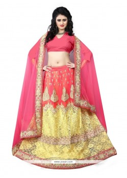 Embroidered Georgette A Line Lehenga Choli In Rose Pink And Yellow