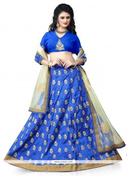 Adorable Blue Embroidered Work A Line Lehenga Choli