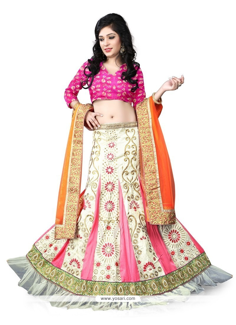 Vibrant Cream And Pink A Line Lehenga Choli