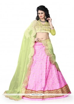 Distinguishable Art Silk Pink A Line Lehenga Choli
