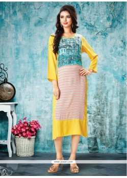 Fantastic Print Work Yellow Rayon Party Wear Kurti