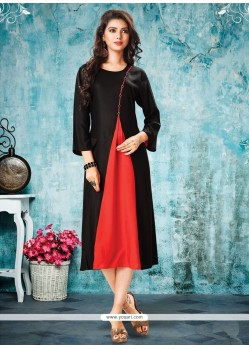 Dilettante Plain Work Rayon Black Party Wear Kurti