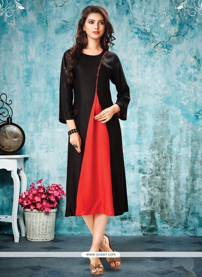 Buy Dilettante Plain Work Rayon Black Party Wear Kurti | Party Wear ...