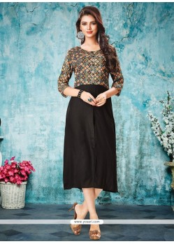 Imperial Rayon Black Print Work Party Wear Kurti