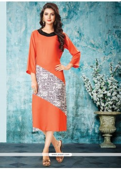 Topnotch Print Work Rayon Party Wear Kurti