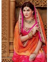 Magenta And Orange Premium Net Lehenga Saree