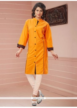 Perfervid Print Work Orange Casual Kurti