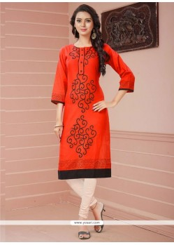 Absorbing Red Casual Kurti