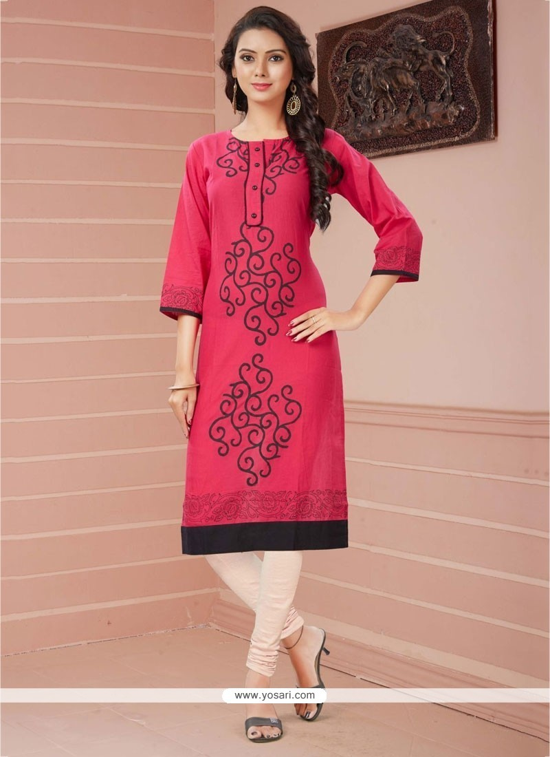 Sunshine Print Work Pink Casual Kurti