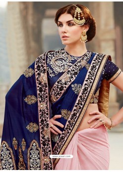 Navy Blue And Pink Premium Net Designer Saree