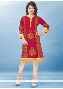 Print Rayon Casual Kurti In Red
