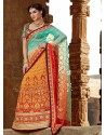 Orange And Blue Premium Net Lehenga Saree