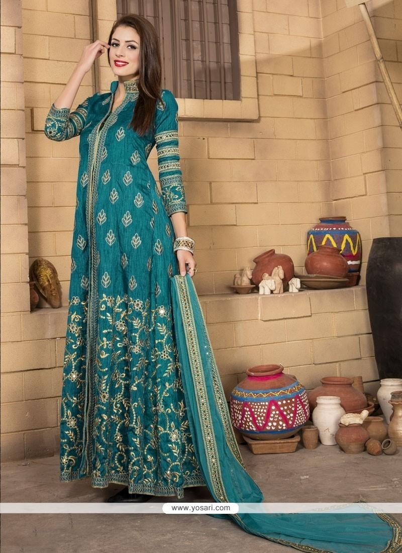 Turquoise Banglori Silk Designer Salwar Kameez