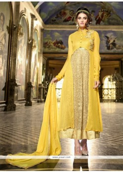 Perfervid Resham Work Yellow Designer Suit