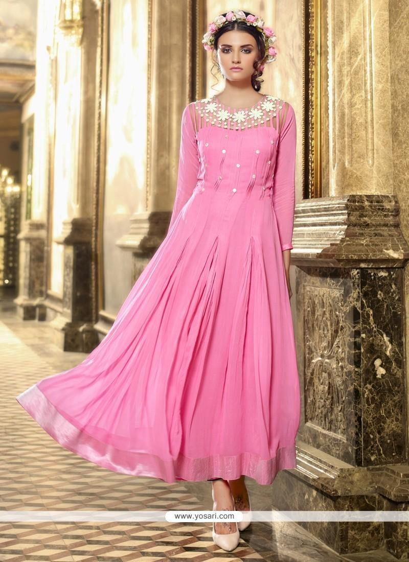 Adorning Georgette Pink Anarkali Salwar Kameez