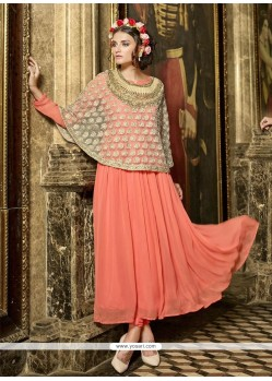 Prodigious Embroidered Work Georgette Orange Anarkali Salwar Kameez