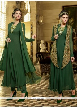 Riveting Georgette Green Resham Work Designer Suit