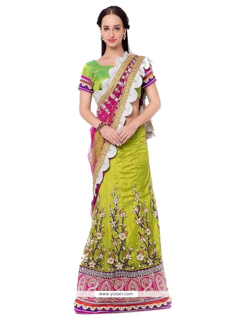 Modish Satin Green Lehenga Saree