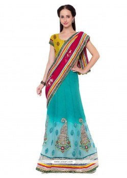 Regal Patch Border Work Georgette Lehenga Saree