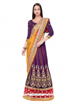 Flawless Purple Lehenga Saree