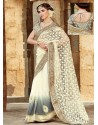 Cream And Grey Shaded Premium Net Saree