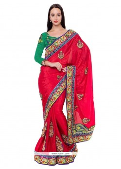 Glowing Embroidered Work Red Designer Saree
