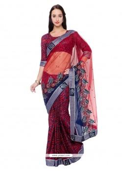 Especial Net Maroon Classic Designer Saree