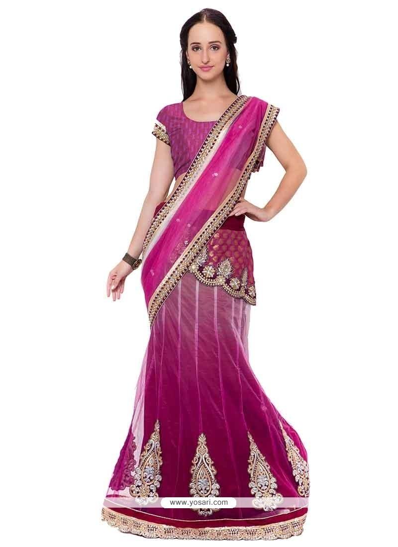 Captivating Net Purple Embroidered Work Lehenga Saree