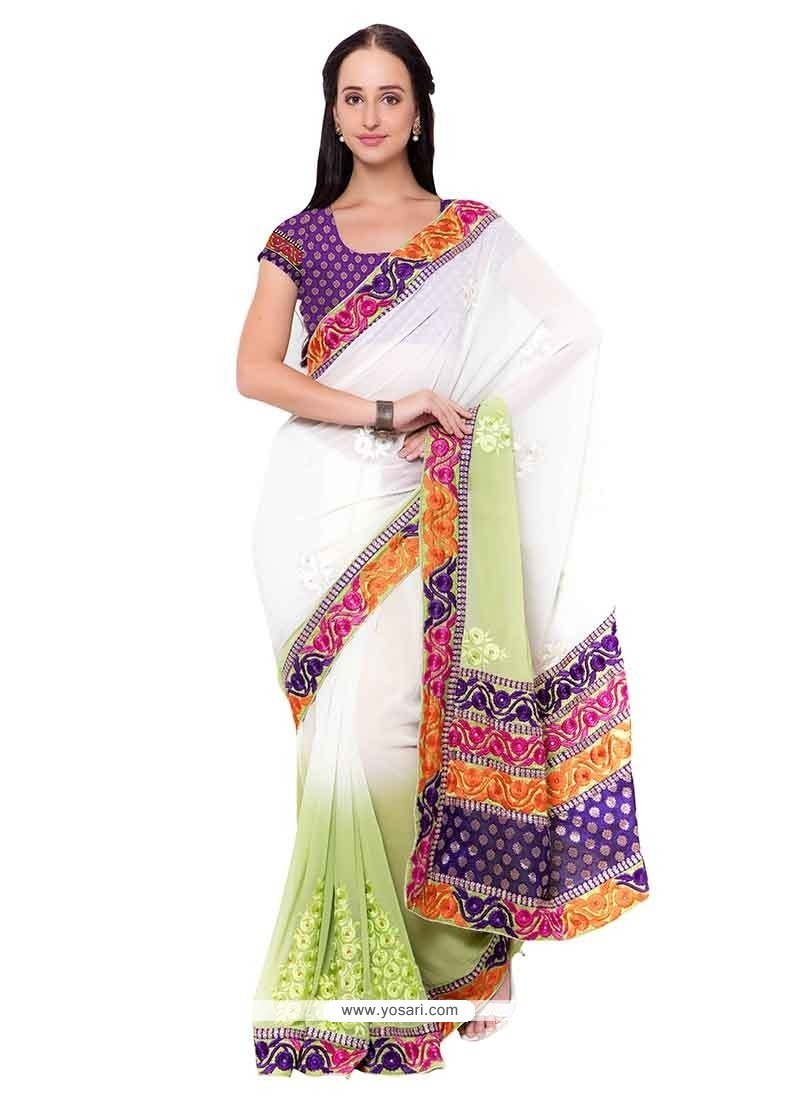Dignified Faux Chiffon Patch Border Work Classic Saree