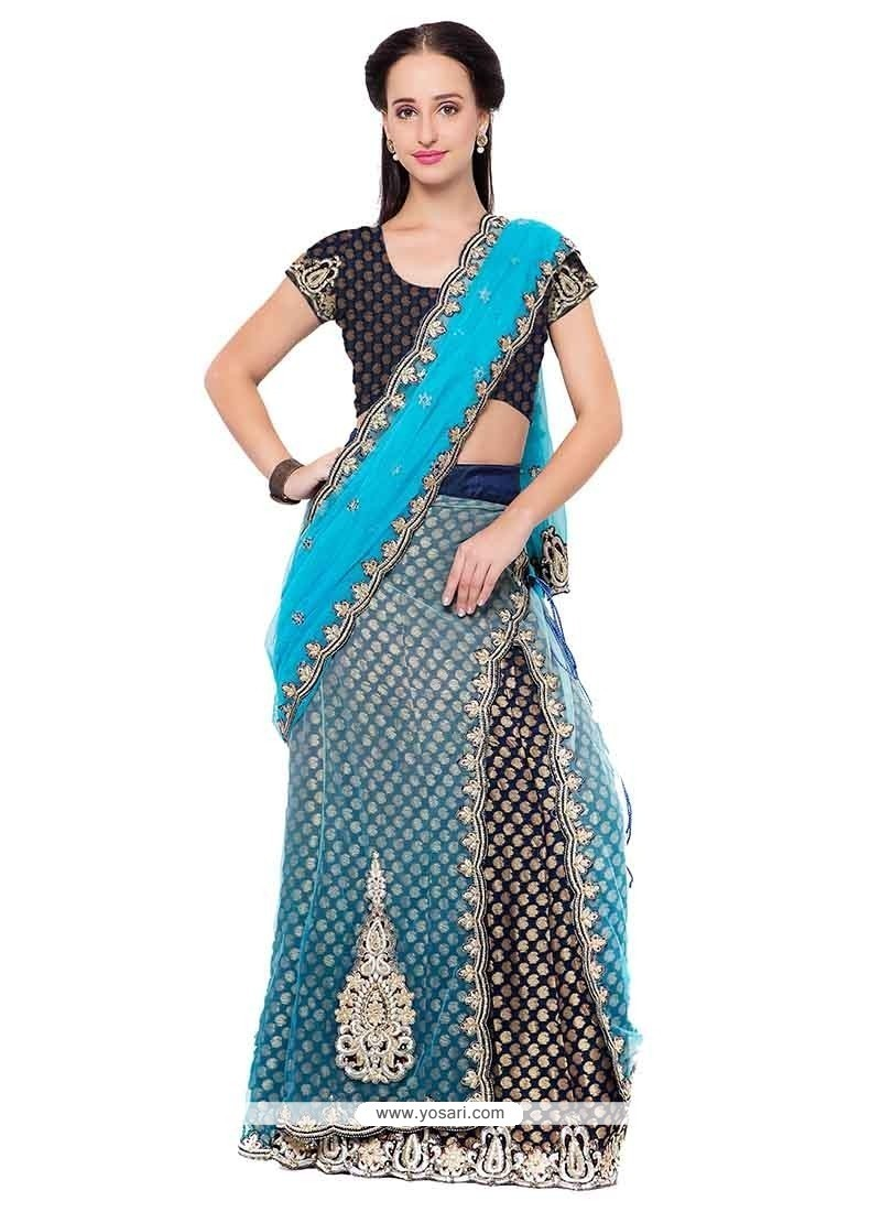 Exciting Blue Patch Border Work Jacquard Lehenga Saree