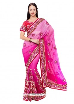 Trendy Hot Pink Embroidered Work Designer Saree