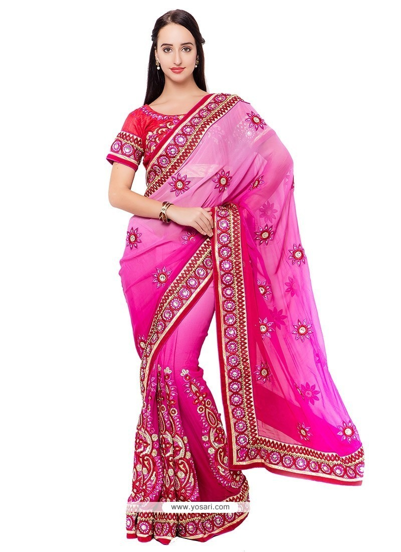 Trendy Hot Pink Embroidered Work Designer Saree