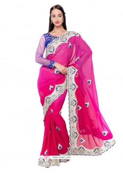 Latest Georgette Hot Pink Embroidered Work Classic Designer Saree