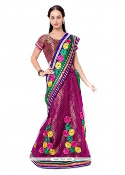 Prodigious Embroidered Work Magenta Lehenga Saree