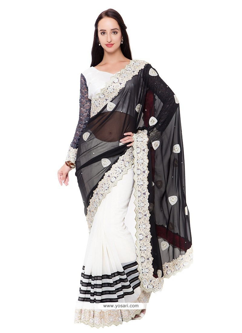 Observable Off White Embroidered Work Classic Saree