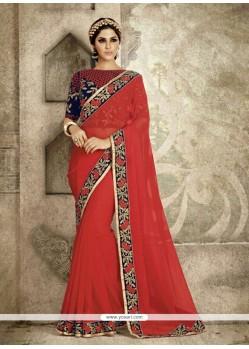 Distinctively Pure Chiffon Red Designer Saree