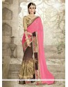 Customary Beige And Pink Embroidered Work Georgette Designer Saree