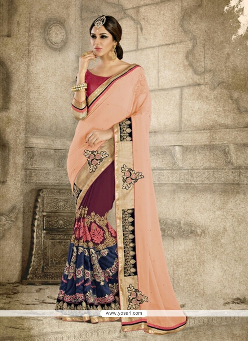 Vivid Multi Colour Georgette Designer Saree