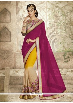 Catchy Magenta Embroidered Work Georgette Designer Saree